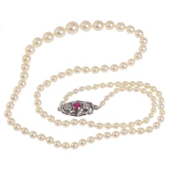 Vintage Art Deco pearl necklace with diamond and ruby closure by Unknown Artist