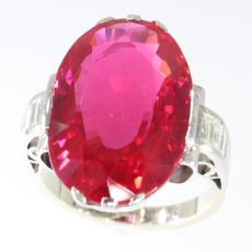 French Art Deco large Verneuil ruby and diamond engagement ring by Unknown