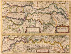 KAART VAN DE BETUWE EN STROOMLOOP VAN DE GROTE RIVIEREN  by Hondius, Henricus