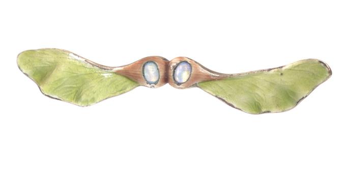 Antique silver Jugendstil brooch Austrian Hungarian bar brooch sycamore seeds by Unknown Artist