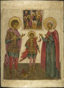 Antique Russian wooden icon: The Three Saints by Unknown Artist