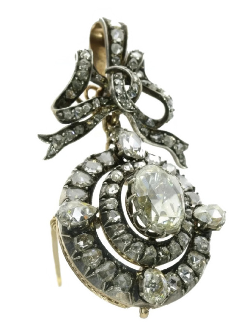 59bd65469 Magnificent Victorian brooch pendant with humungous rose cut diamond by  Unknown Artist