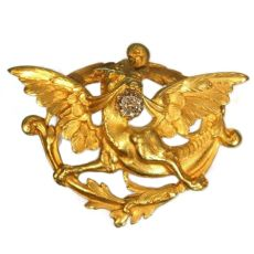 Griffing brooch Late Victorian Early Art Nouveau gold with diamond by Unknown