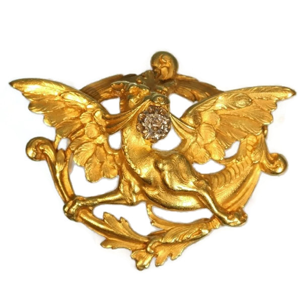 Griffing brooch Late Victorian Early Art Nouveau gold with diamond by Unknown Artist