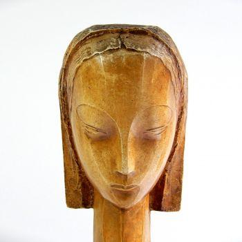 Head of a young woman by Emiel François Poetou