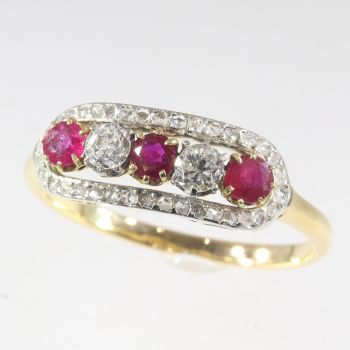 Victorian diamond and ruby ring by Unknown Artist