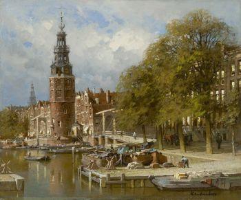 The Montelbaanstoren near the Kalkmarktsluis, Amsterdam by Johannes Christiaan Karel Klinkenberg