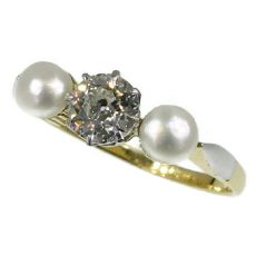 Three stones estate engagement ring diamond pearl by Unknown Artist