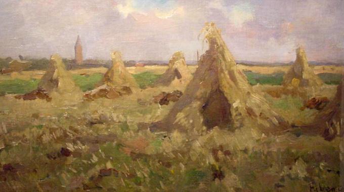Haystacks near the village Huizen, Netherlands by Jacob Ritsema