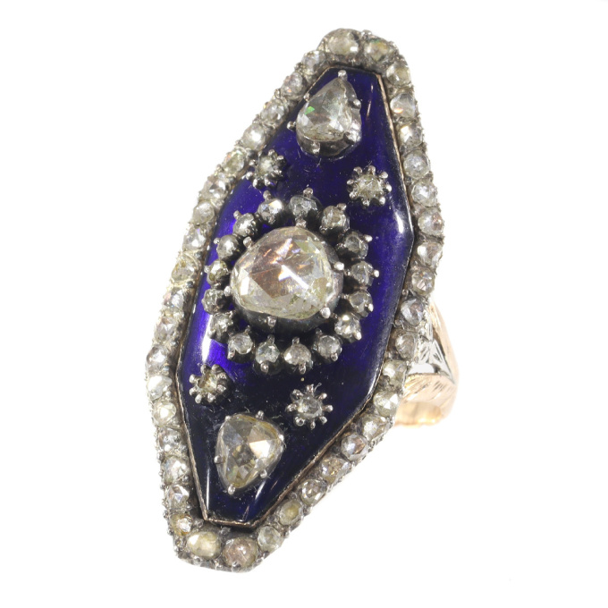 Magnificent Victorian rose cut diamond ring with blue enamel by Unknown Artist
