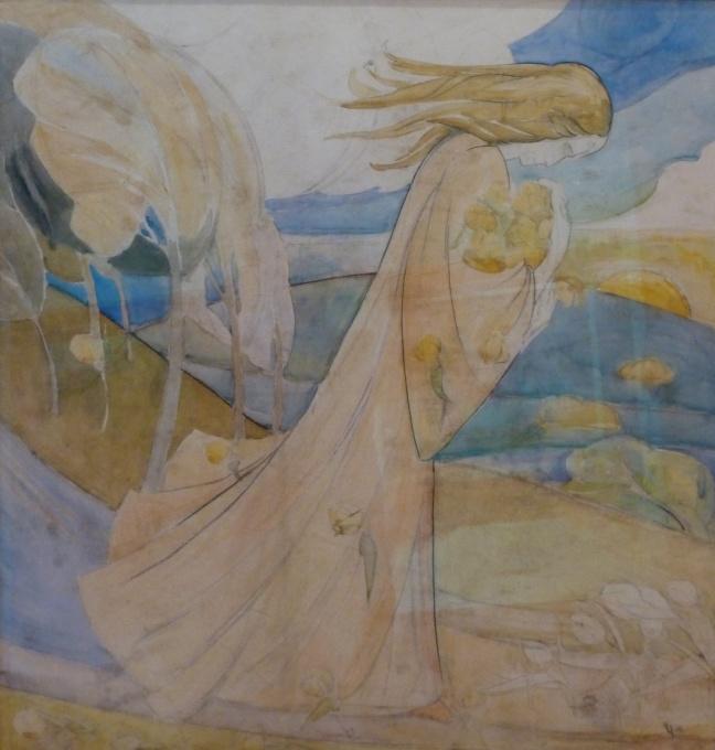 Symbolistic landscape with female figure by Willem van Konijnenburg