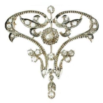 Art Nouveau diamond brooch pendant by Unknown Artist