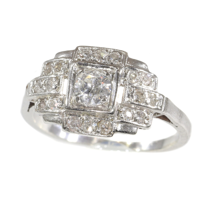 French platinum Art Deco diamond engagement ring by Unknown Artist