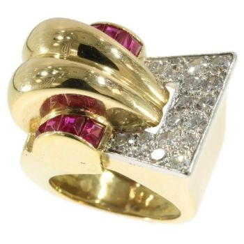 Very strong design handmade Retro ring with diamonds and rubies from the forties by Unknown Artist