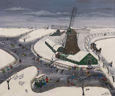 Winter landscape (Nieuwe Niedorp) by Janny Kuiper