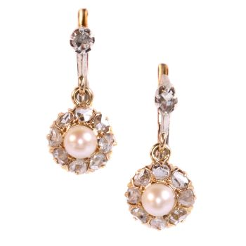 Vintage antique late Victorian earrings with rose cut diamonds and pearls by Unknown Artist