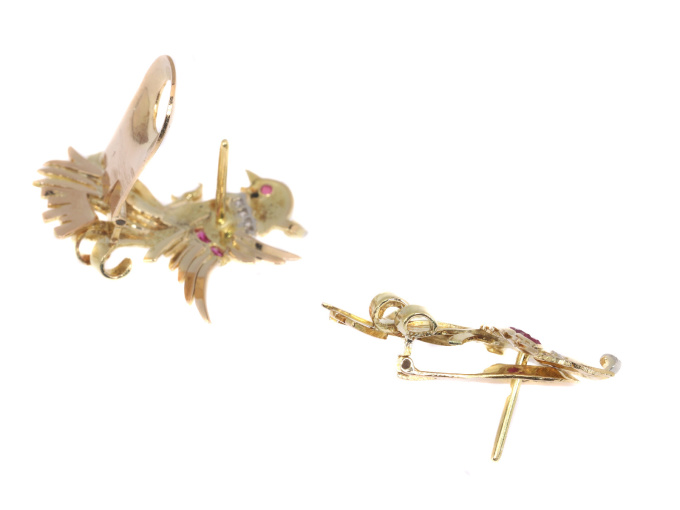 Vintage Retro gold and diamond earrings clips by Unknown