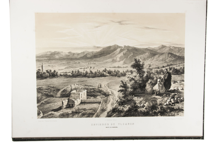 Rare and extensive work on Algeria, spectacularly illustrated with 133 large plates, some in colour by Louis Adrien Berbrugger