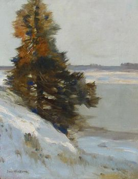 Winter landscape by Louis van Soest