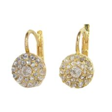 Victorian old mine cut diamond earrings with double row rose cut diamonds by Unknown Artist