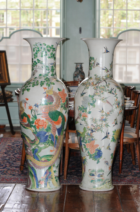 Pair of Colossal Qing Dynasty Bird Vases, ca. 1900 by Unknown Artist