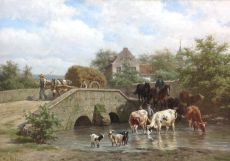 Bathing Cows by Willem Carel Nakken