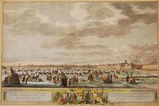 YSVERMAAK OP DE RIVIER DE MAZE VOOR DE STAD ROTTERDAM ZOALS HET ZICH VERTOOND HEEFT IN HET BEGIN VAN HET JAAR 1776    by Muys, Robert