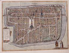 Delft  kopergravure uit de Civitates Orbis Terrarum by Braun, Georg