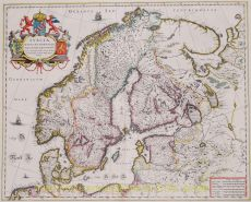 This fine map depicts the kingdoms of Sweden, Denmark and Norway by Blaeu, Joan