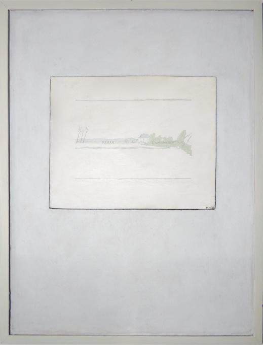 Wit huisje aan de dijk by Hendrik Valk