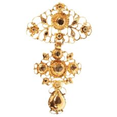 19th Century filigree gold cross rose cut diamonds pendant called a la Jeanette by Unknown Artist