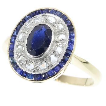 Art Deco diamond and sapphire engagement ring by Unknown Artist
