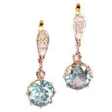 Art Deco diamond earrings with large starlites by Unknown Artist