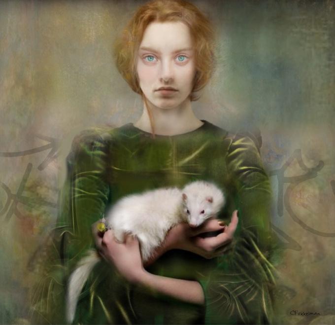 WOMAN WITH ERMINE by Christine Fokkelman