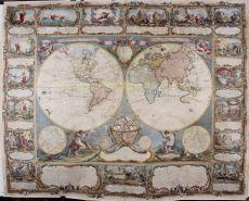 SPECTACULAR WORLD MAP WITH THE STORY OF CREATION     by Gobert-Denis Chambon