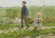 Children walking through the cornfields at Blaricum