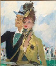 Elegant Couple, Horser-races à Deauville, France by Jean-Gabriel Domergue