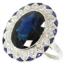 Art Deco diamond and sapphire engagement ring model Lady Di