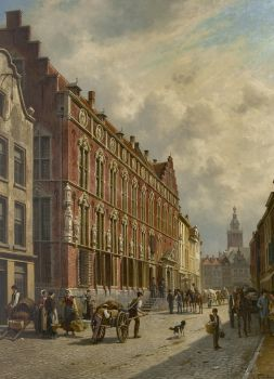 A view of the town hall of Nijmegen by Jacques François Joseph Carabain