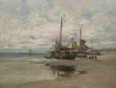 Dutch fishing boats on the beach by Charles Paul Gruppe