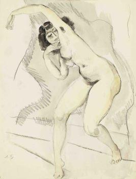 Standing nude with raised arm by Jan Sluijters