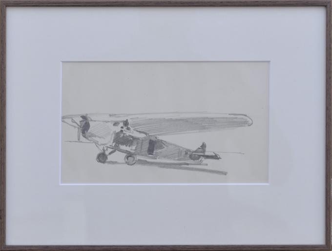 Drawing of an Airplane by Cornelis Vreedenburgh