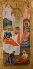 Antique Russian  icon: The Birth of the Virgin by Unknown Artist