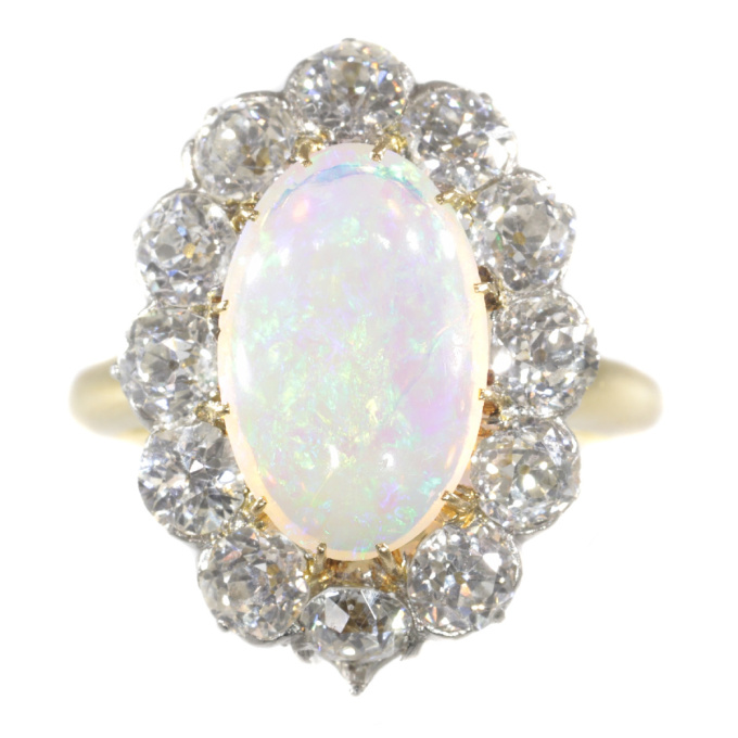 Antique Belle Epoque opal and diamonds ring can be changed into a pendant by Unknown