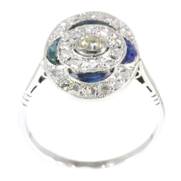 Vintage Art Deco Belle Epoque Diamond And Sapphires Engagement Ring by Unknown Artist