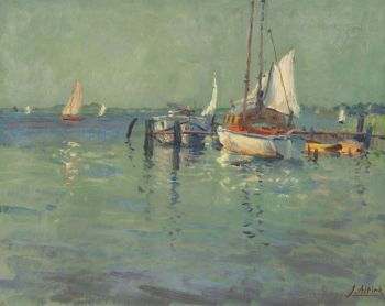 Moored ships on the Paterswolde lake by Jan Altink