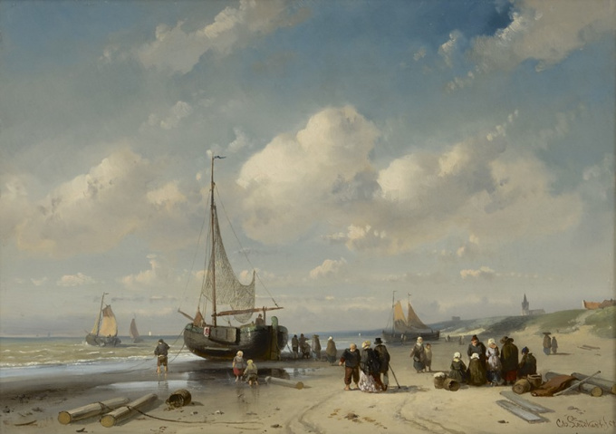 Fishermen and an elegant couple on the beach at Scheveningen by Charles Leickert