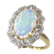 Antique Belle Epoque opal and diamonds ring can be changed into a pendant by Unknown Artist