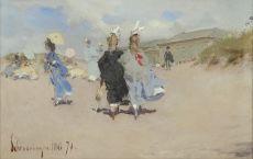 Elegant ladies at the Scheveningen beach