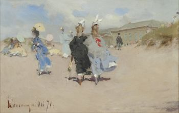 Elegant ladies at the Scheveningen beach by J.H. Kaemmerer